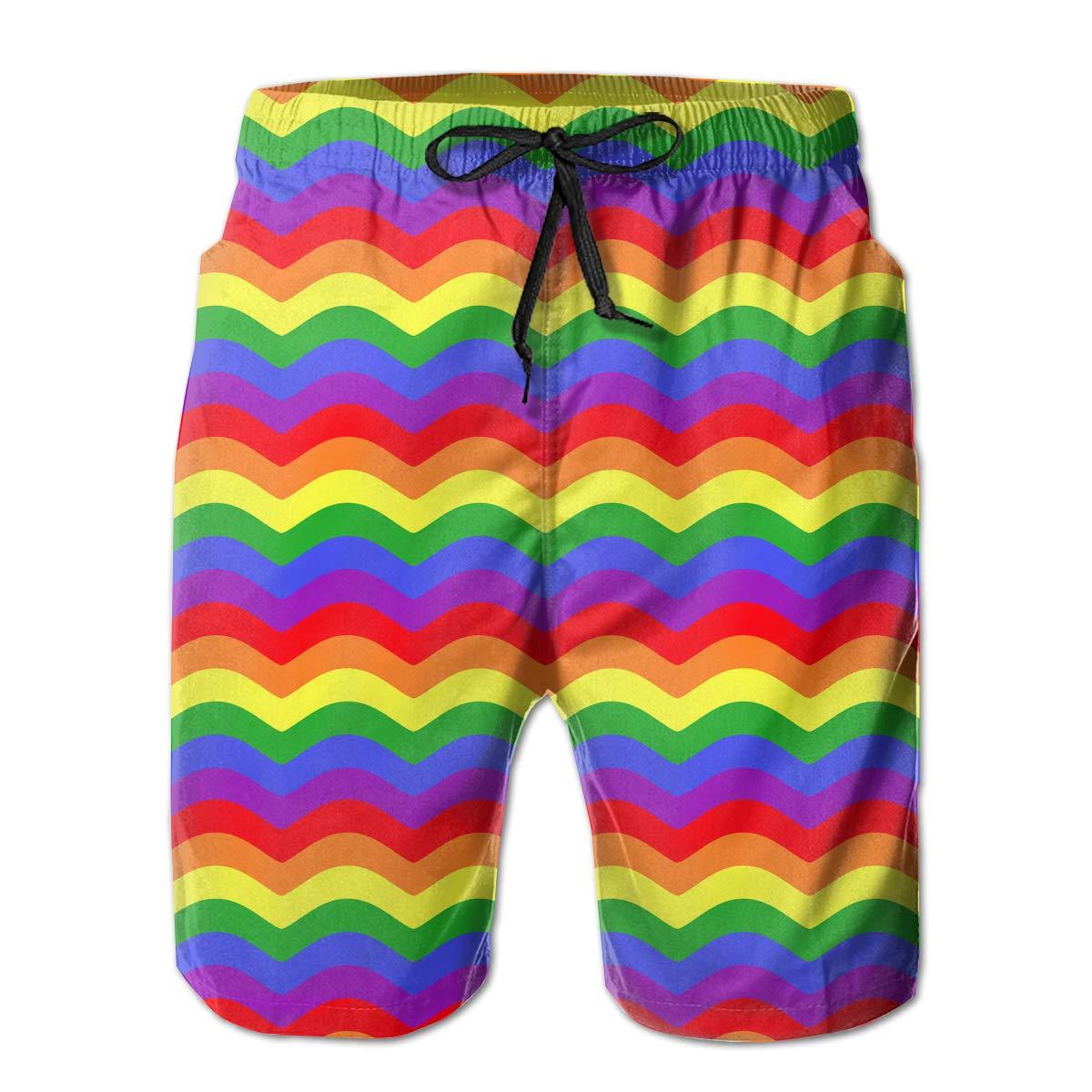 Amazoncom Rainbow Wave Background Pattern Mens Beach Shorts Board