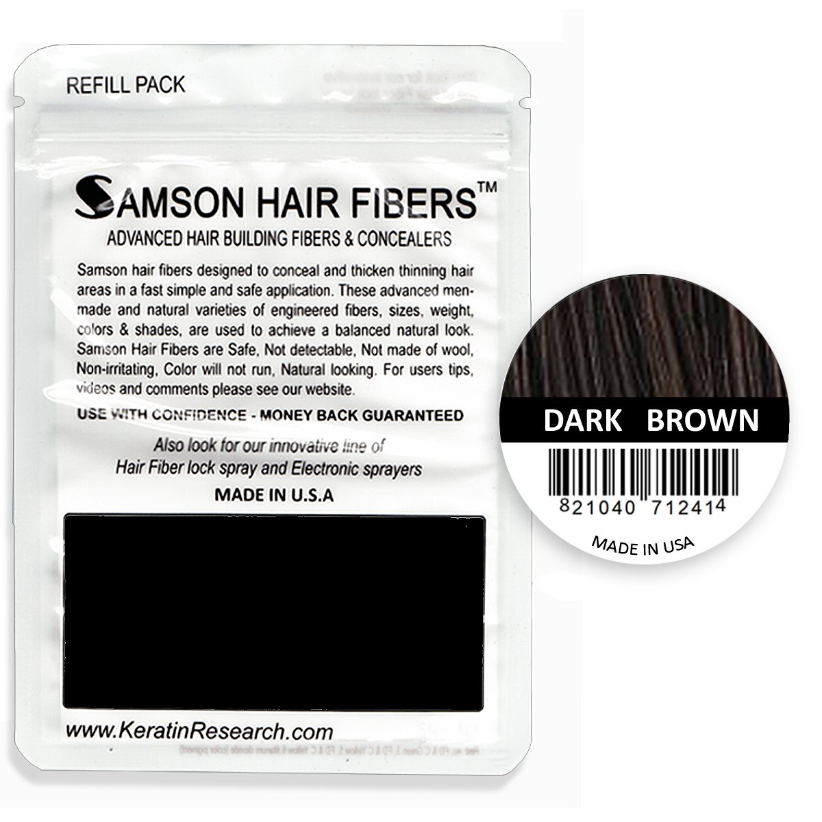 Hair Building Fibers DARK BROWN Refill kit By Samson Large 25 Grams Made in USA Hair Concealer
