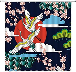 Japanese Shower Curtain Pink Cherry Blossom Sakura Flower Red Sun Fying Bird Abstract Waves Vintage Asian Art Painting Bathroom Decor Fabric Curtain with 12 Hooks,70x70 Inch