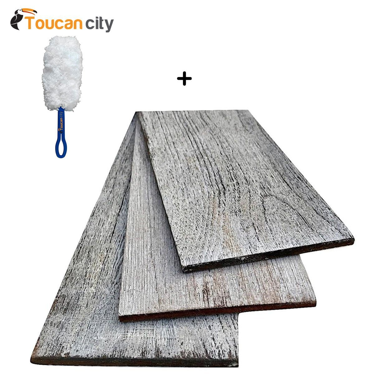 Toucan City Microfiber Dash Duster and 1/4 in. x 5 in. x 2 ft. Gray Reclaimed Smart Paneling 3D Barn Wood Wall Plank (Design 3) (12 – Case) 11332