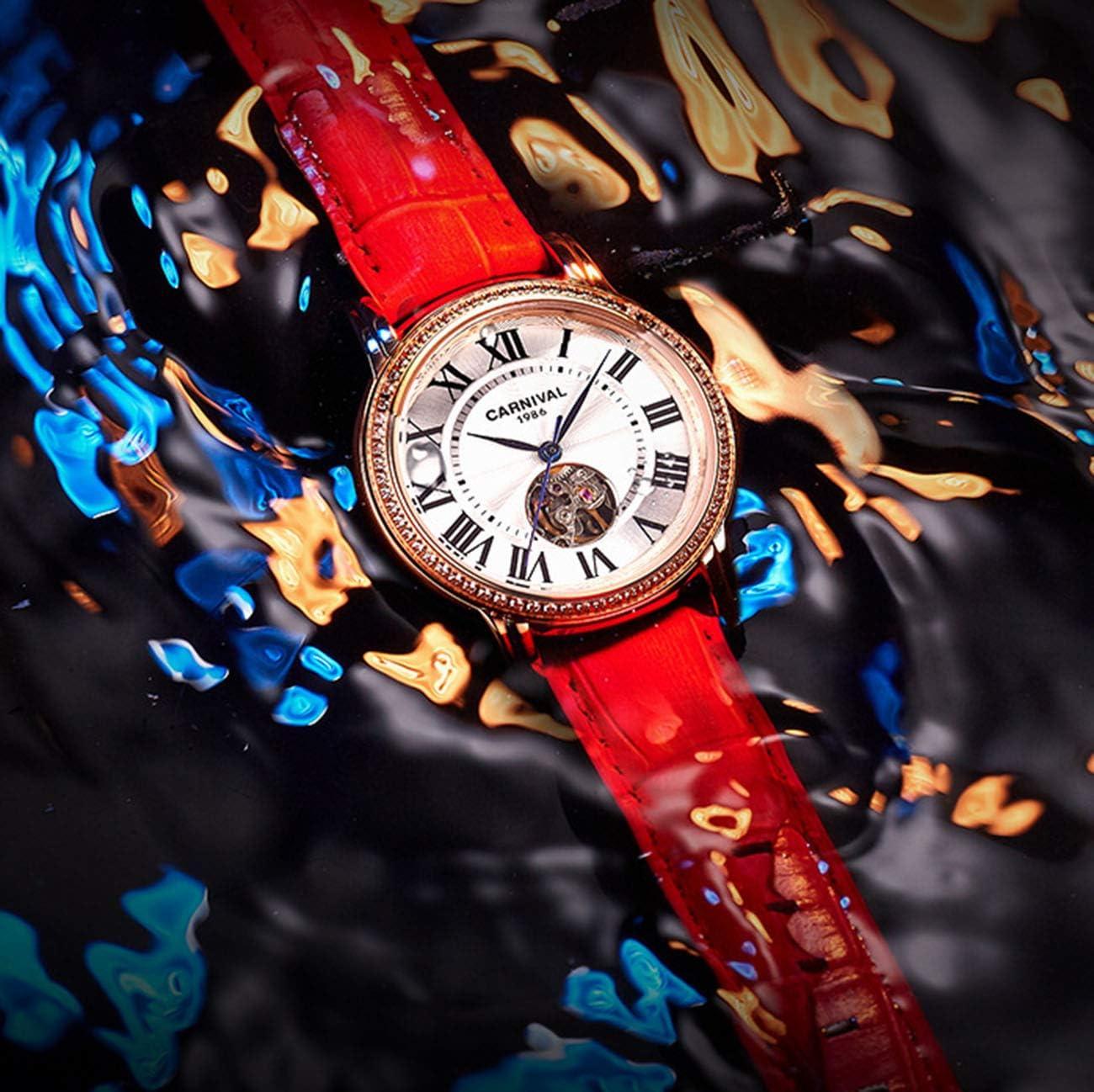QXue - Orologio da polso meccanico da donna con diamanti, cinturino in pelle impermeabile Colore D
