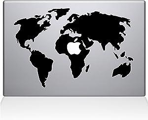 "The Decal Guru World Map MacBook Decal Vinyl Sticker - 13"" MacBook Air - Black (0194-MAC-13A-BLA)"