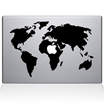Amazoncom The Decal Guru World Map Macbook Decal Vinyl Sticker - Black map world