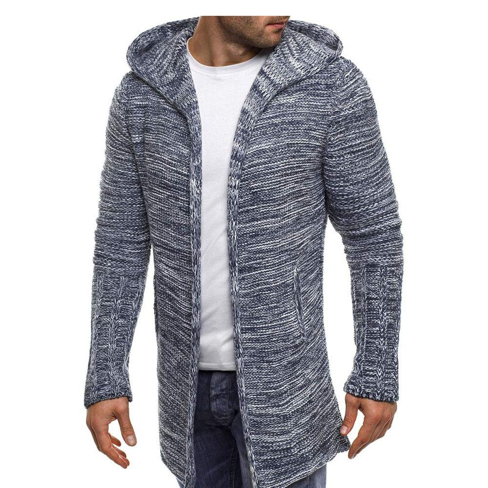Mens Hooded Knit Trench Jacket Long Sleeve Cardigan Sweater at Amazon Mens Clothing store: