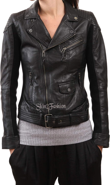 Womens Leather Jacket Stylish Motorcycle Biker Genuine Lambskin 113