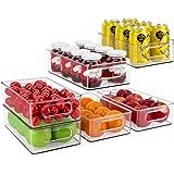 JuneHeart Refrigerator Organizer Bins, Set of 6 Fridge Storage Bins with Handles for Freezer, Kitchen, Countertop and Cabinet