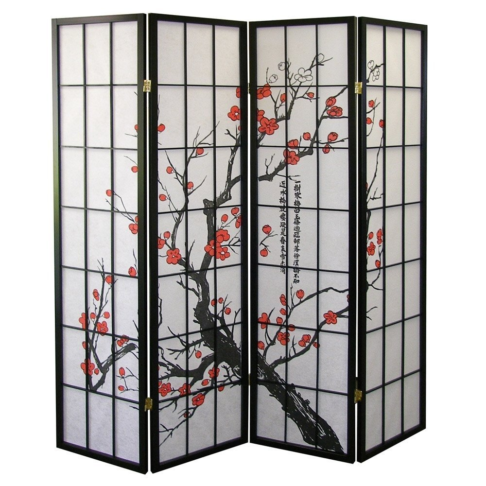 Amazoncom Roundhill Furniture Black Japanese 4 Panel Screen Room