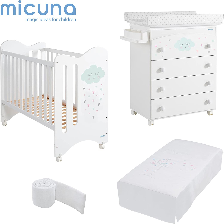 MICUNA - Pack Lili Blanco: Cuna (120 X 60) + Bañera + Edredón ...