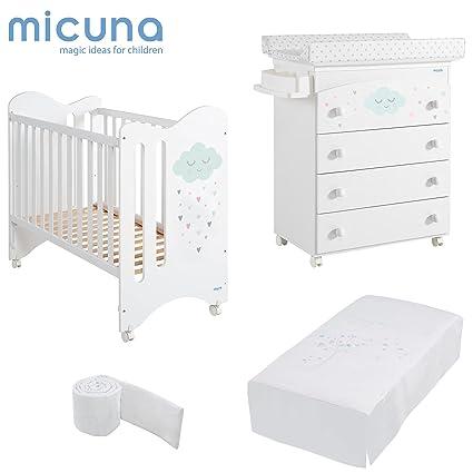 MICUNA - Pack Lili Blanco: Cuna (120 X 60) + Bañera + Edredón