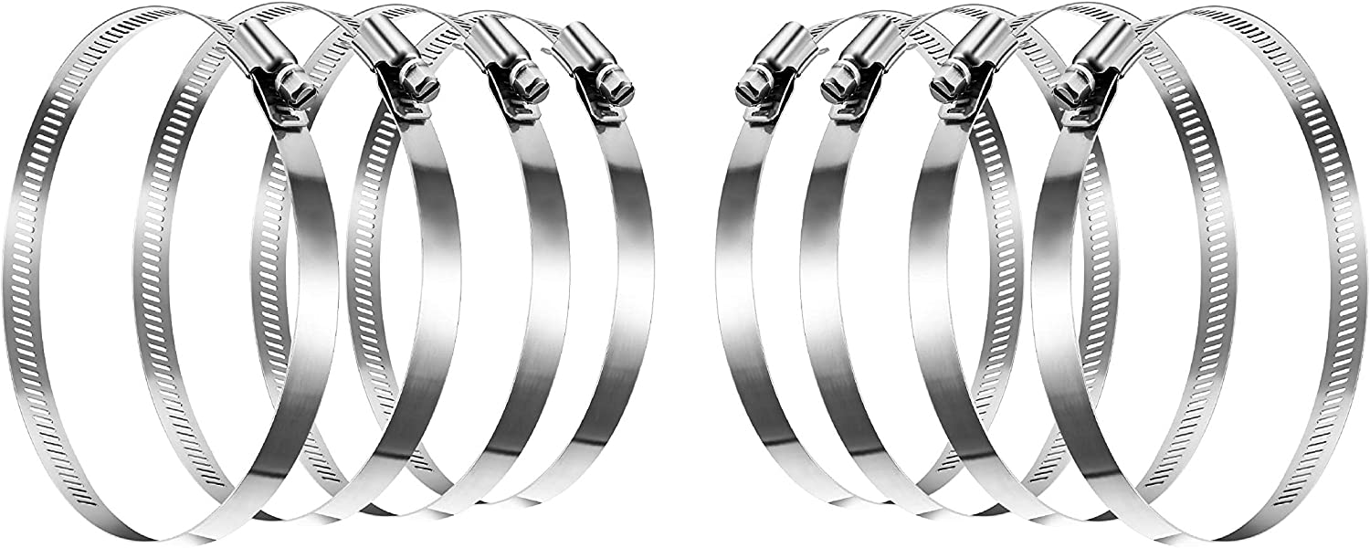 GLIDESTORE 8-Inch Stainless Steel Hose Clamps, Duct Clamps, Dryer Vent Hose Clamp, Pipe Clamp, Worm Gear Clamps, Large Hose Clamps (Pack of 8)
