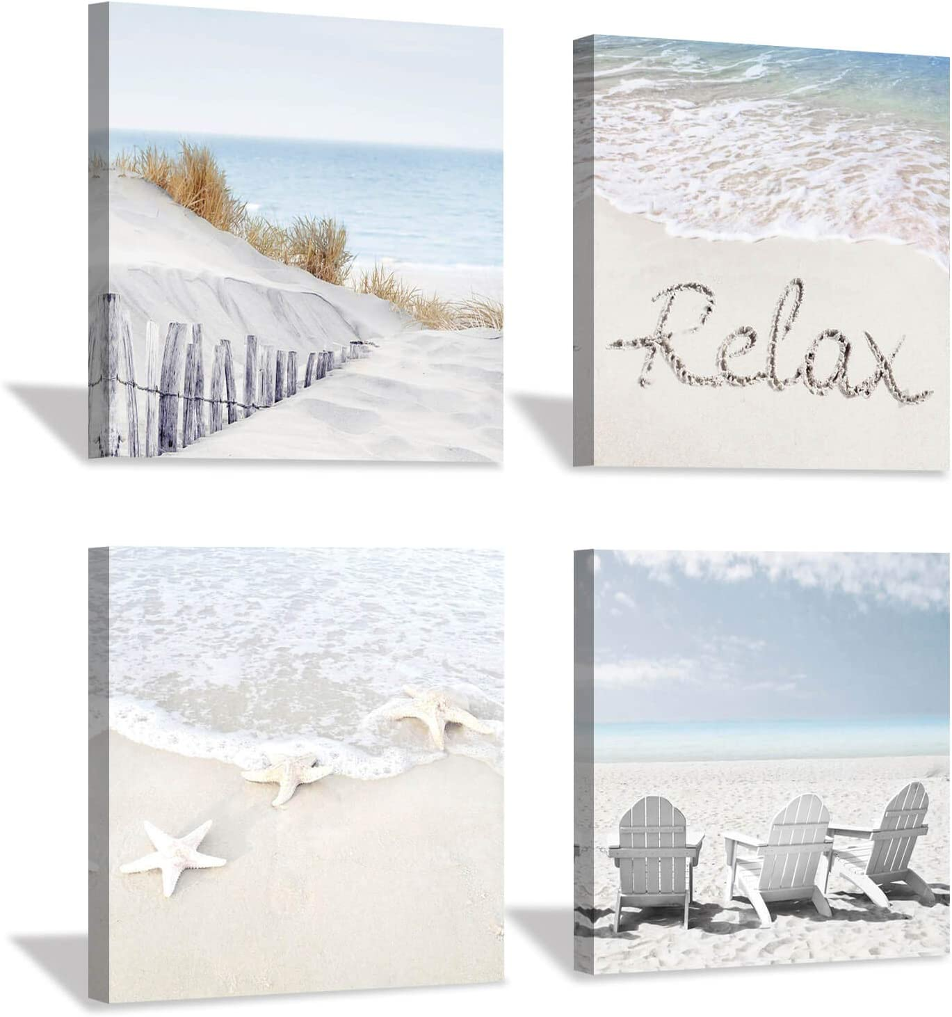 Coastal Artwork Beach Wall Art Starfish Chairs On Sand Painting With Word Picture On Canvas For Living Room 16 X 16 X 4 Panels Posters Prints
