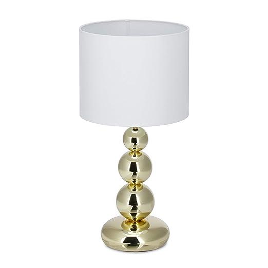 Relaxdays Lámpara de Mesa Elegante, Metal y Tela, Blanco y Dorado, 50 x 25 cm