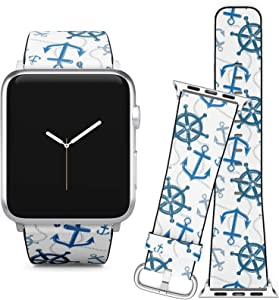 Compatible with Apple Watch (38/40 mm) Series 5, 4, 3, 2, 1 // Leather Replacement Bracelet Strap Wristband + Adapters // Nautical