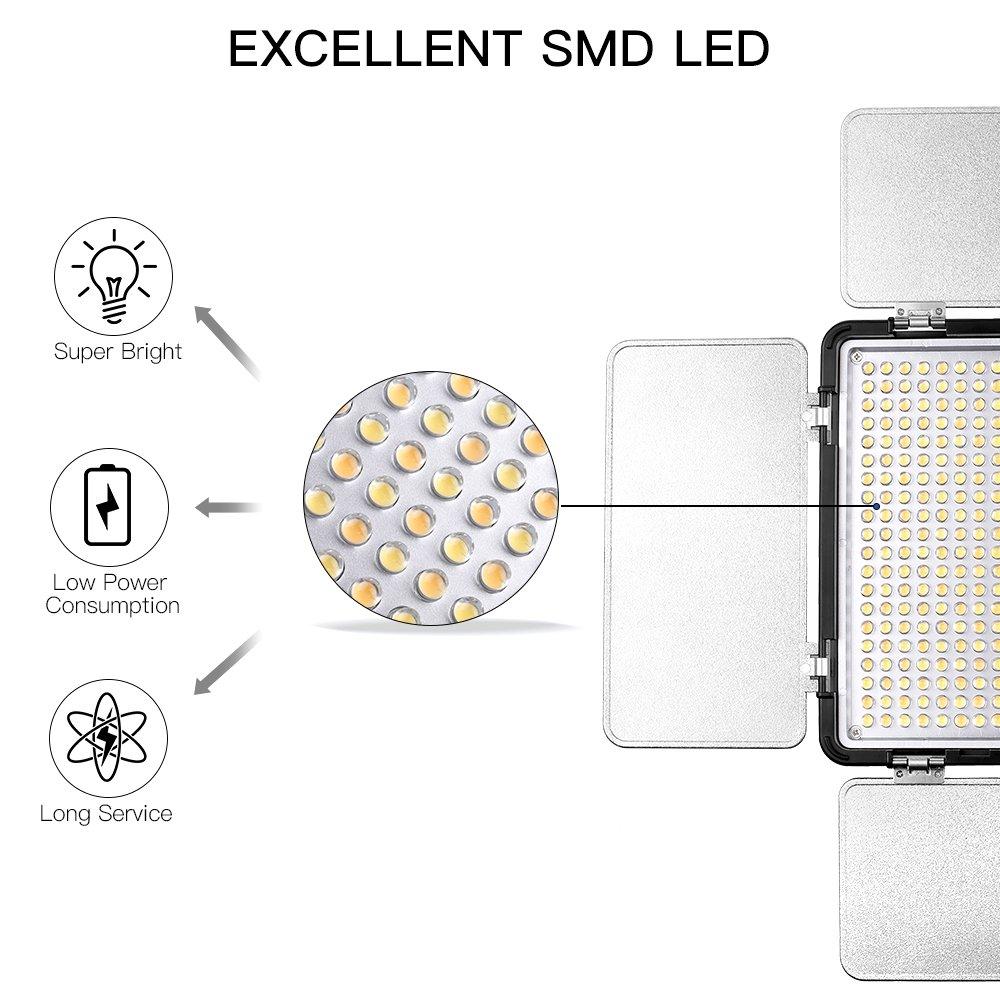 SAMTIAN LED Video Light 600 LED Camera Studio Light Kit CRI95 3200K 5600K Camcorder Light Kit with Barndoors 75 Inches Light Stand Batteries and Remote Camera Photo Light for Studio Photography, Video by SAMTIAN (Image #6)