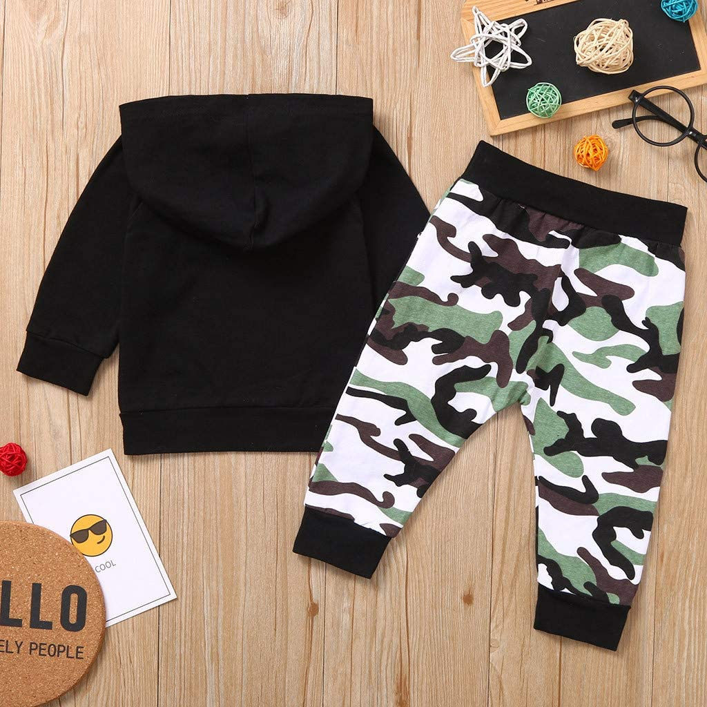 Camouflage Pants Set,Girl Outfits Long Sleeve Infant Newborn Clothes Boys,Toddler Boy Letter Hoodie T Shirt Tops