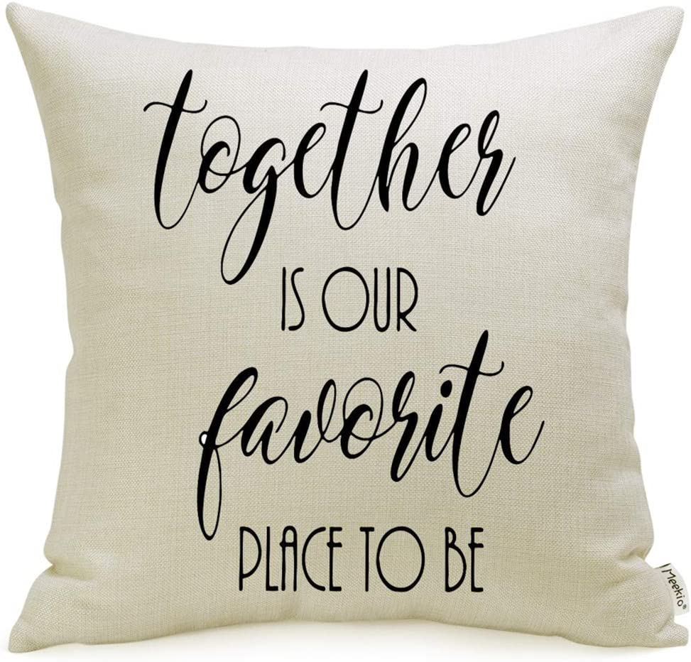Meekio Farmhouse Pillow Covers with Together is Our Favorite Place to Be Quote 18