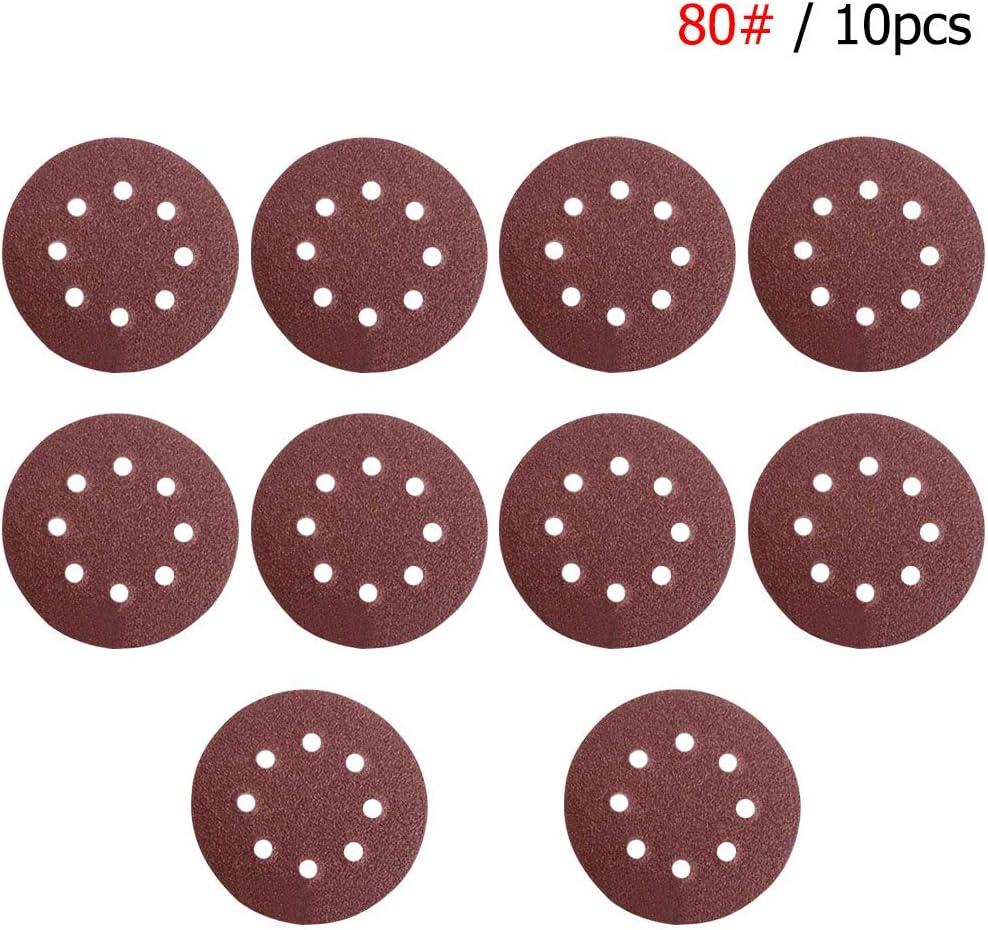 10pcs Sandpapers Set 5Inch 8Hole Abrasive Grit 1000 Hook Loop Sanding Discs for Random Orbital Sander Polishing
