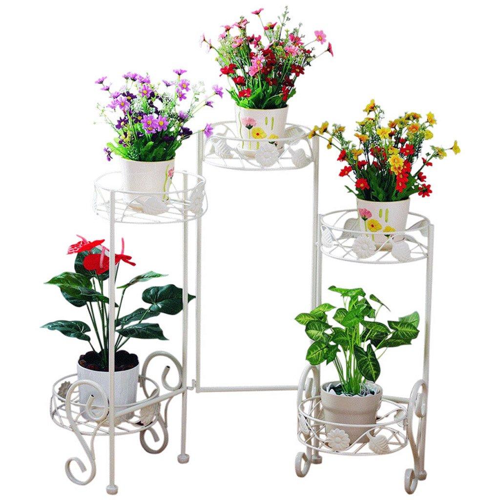 CJH Im europäischen Stil mehrstöckige Eisen Schmiedeeisen Innen Weiß Bonsai Blumentöpfe Regal Balkon Blumenregal