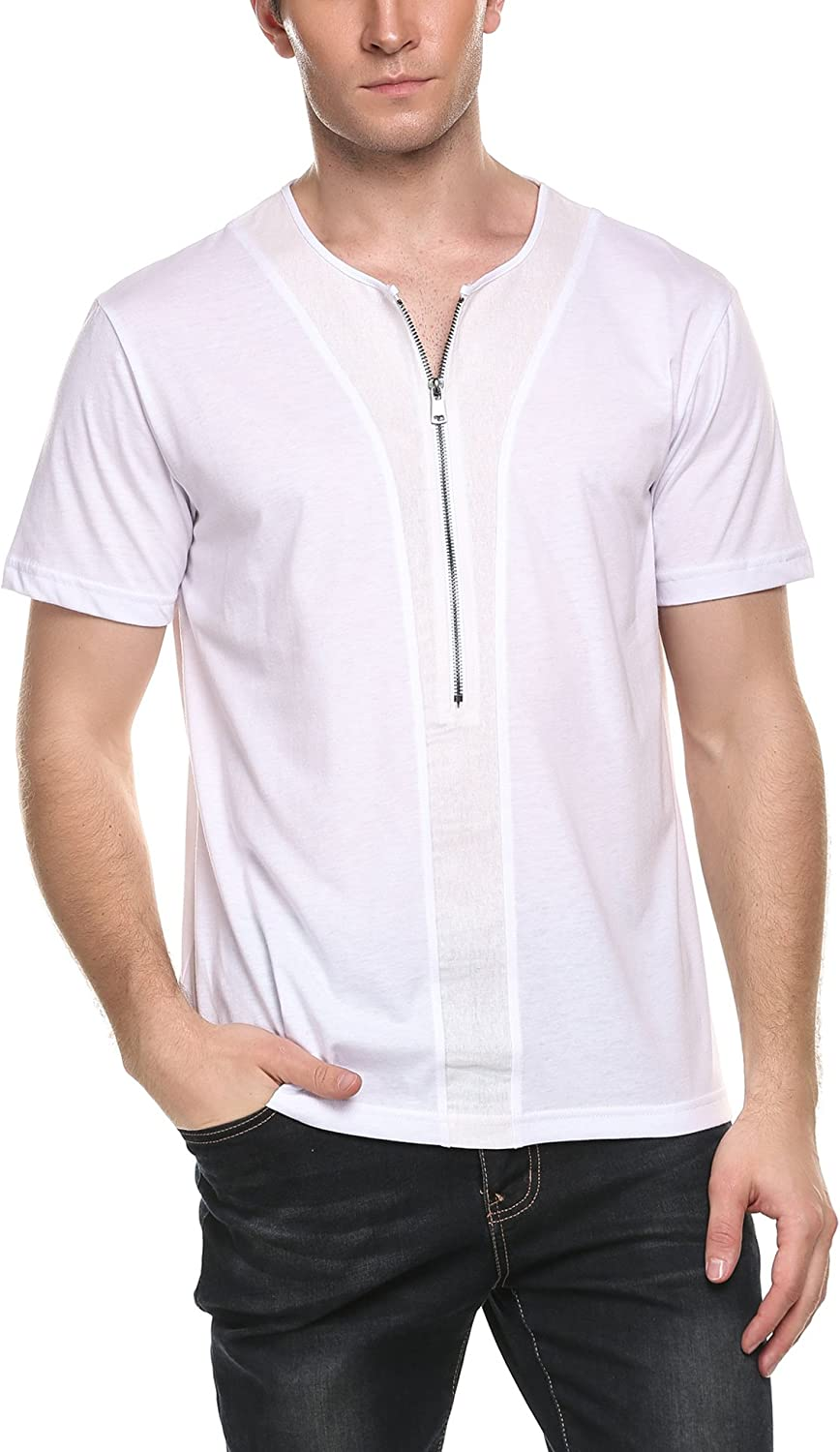 Mens Fashion Zip-up Shirt Slim Fit Contrast Short Sleeve Casual with Pocket T-Shirt