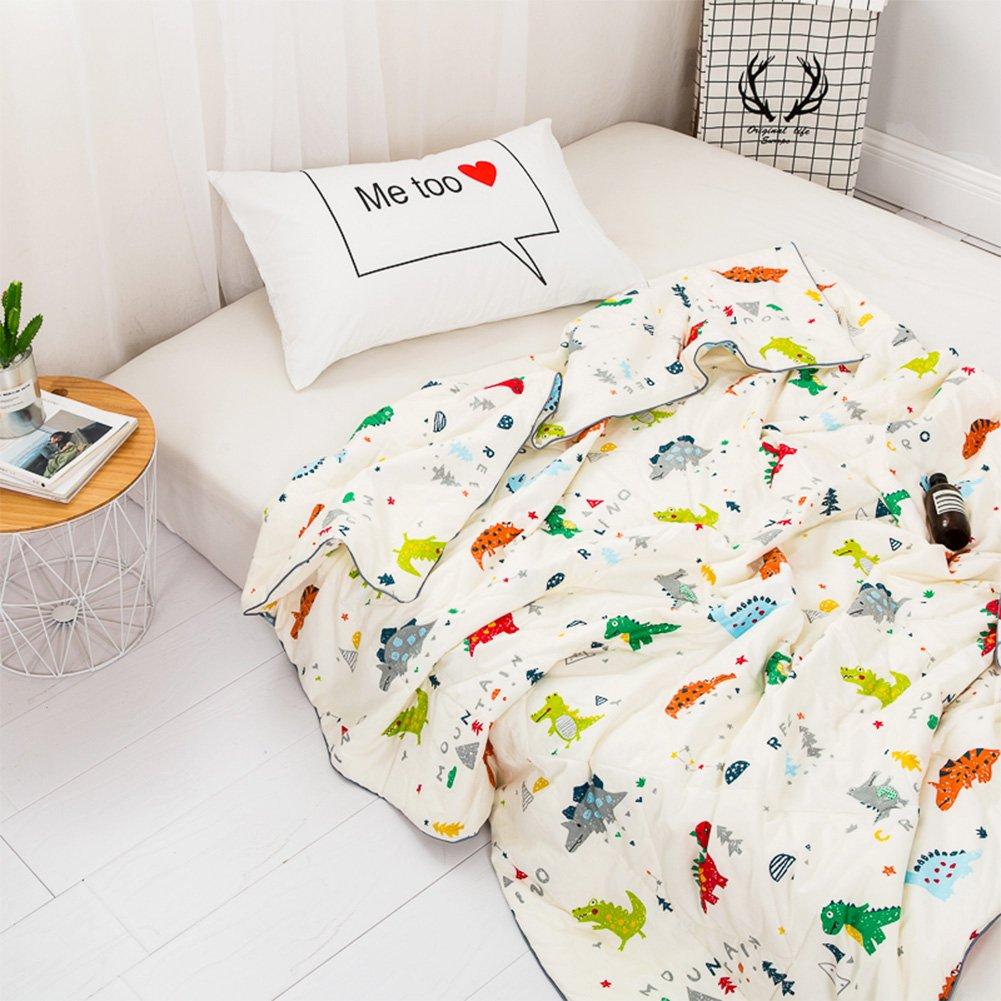 YOHA Kids Summer Comforter Thin Quilt Throw Blanket Boys Girls Cute Cartoon Quilt Cotton Soft Kids Room Bedding Quilt Coverlet(Dinosaur,Twin 59''x78'')
