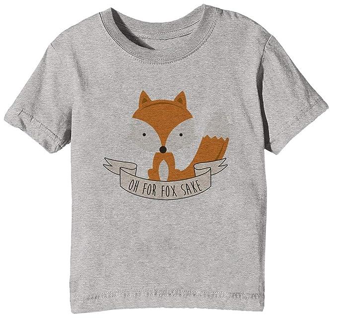 Oh For Fox Sake - Fox Niños Unisexo Niño Niña Camiseta Cuello Redondo Gris Manga Corta