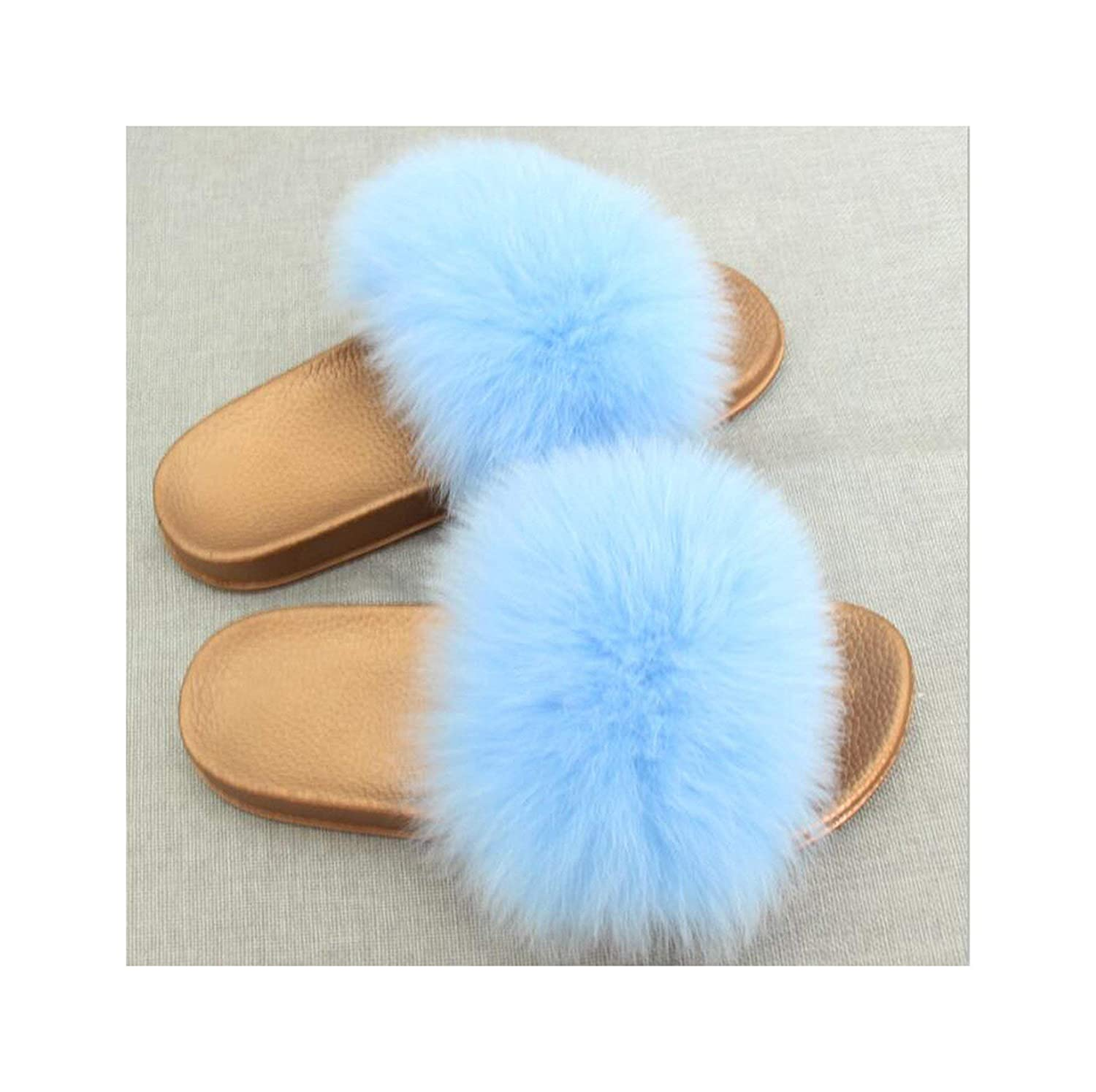 8 Zalin Women's Summer Genuine Fox Fur Slippers PVC Flat Indoor Non-Slip Slippers Furry Slippers