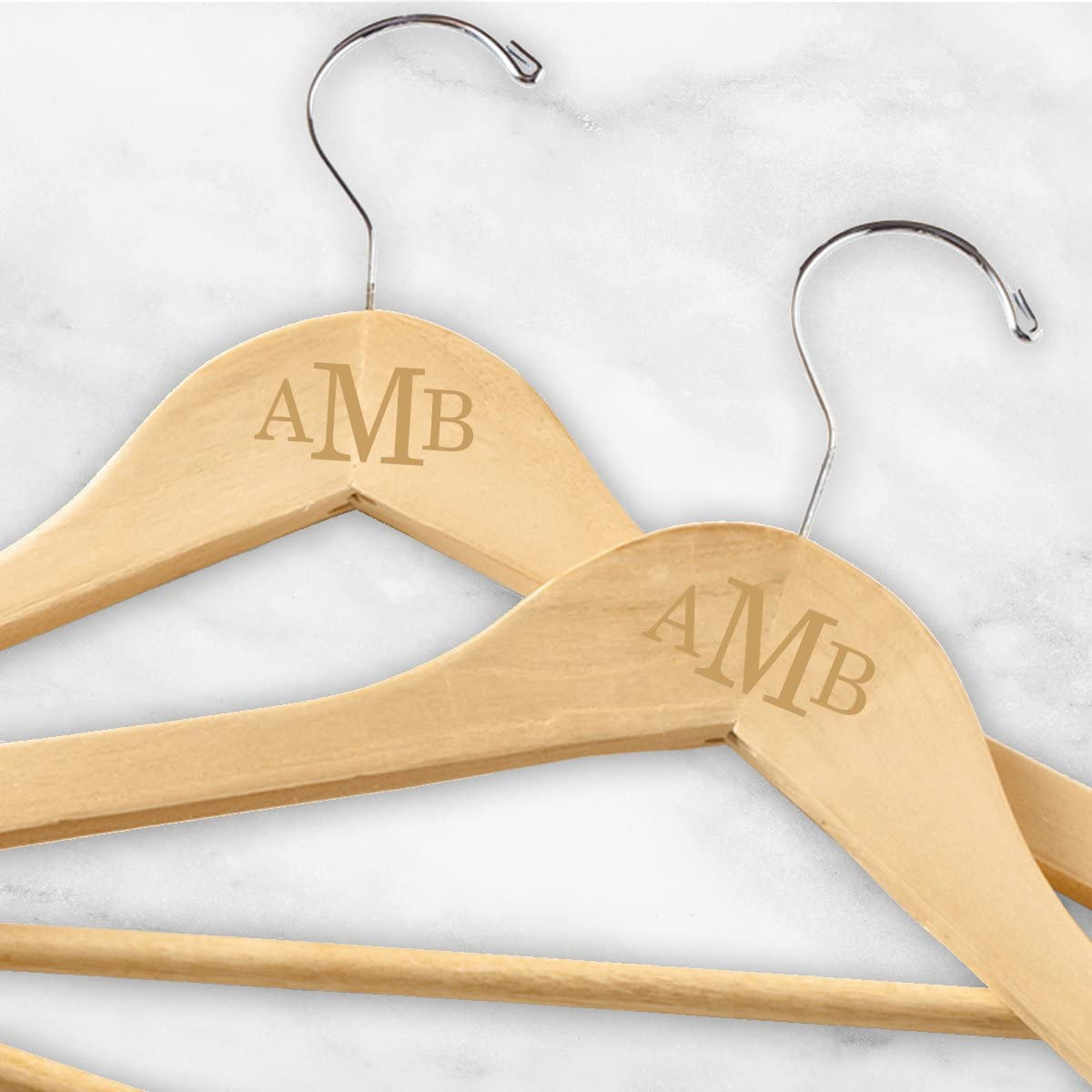 Set of 3 Wedding Party Gift Personalize Maple Wooden Dress Hanger for Bride