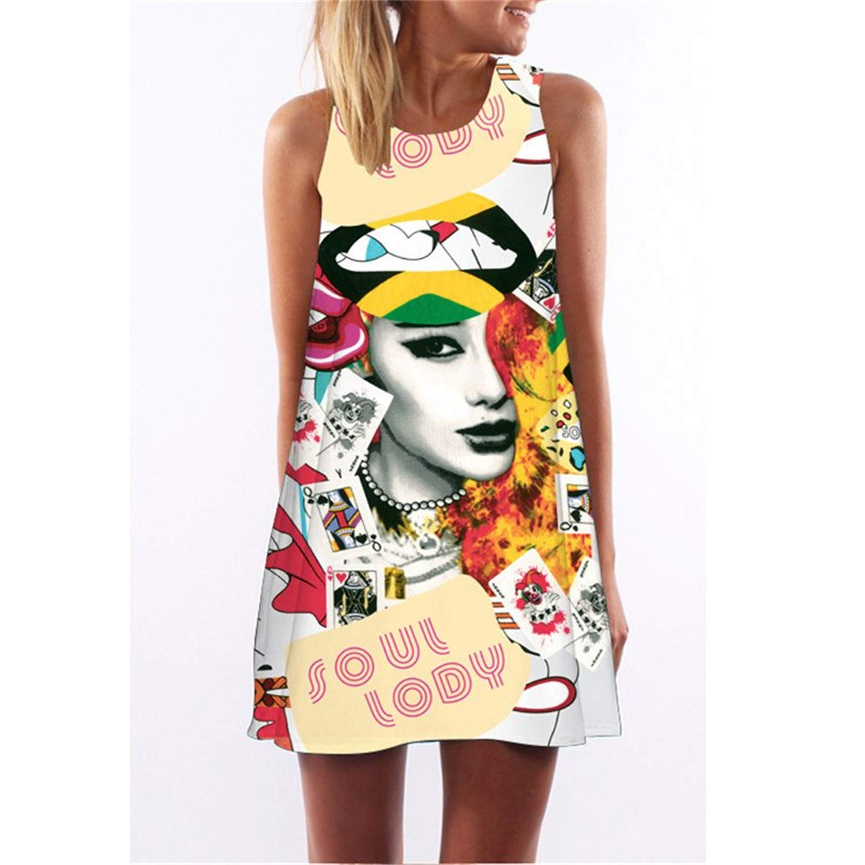 New Style Summer Loose T Shirt Dress Casual Streetwear Sleeveless O-Neck 3D Print Dresses Plus Size Women Clothing Sexy Elegant Mini Dress Clearance