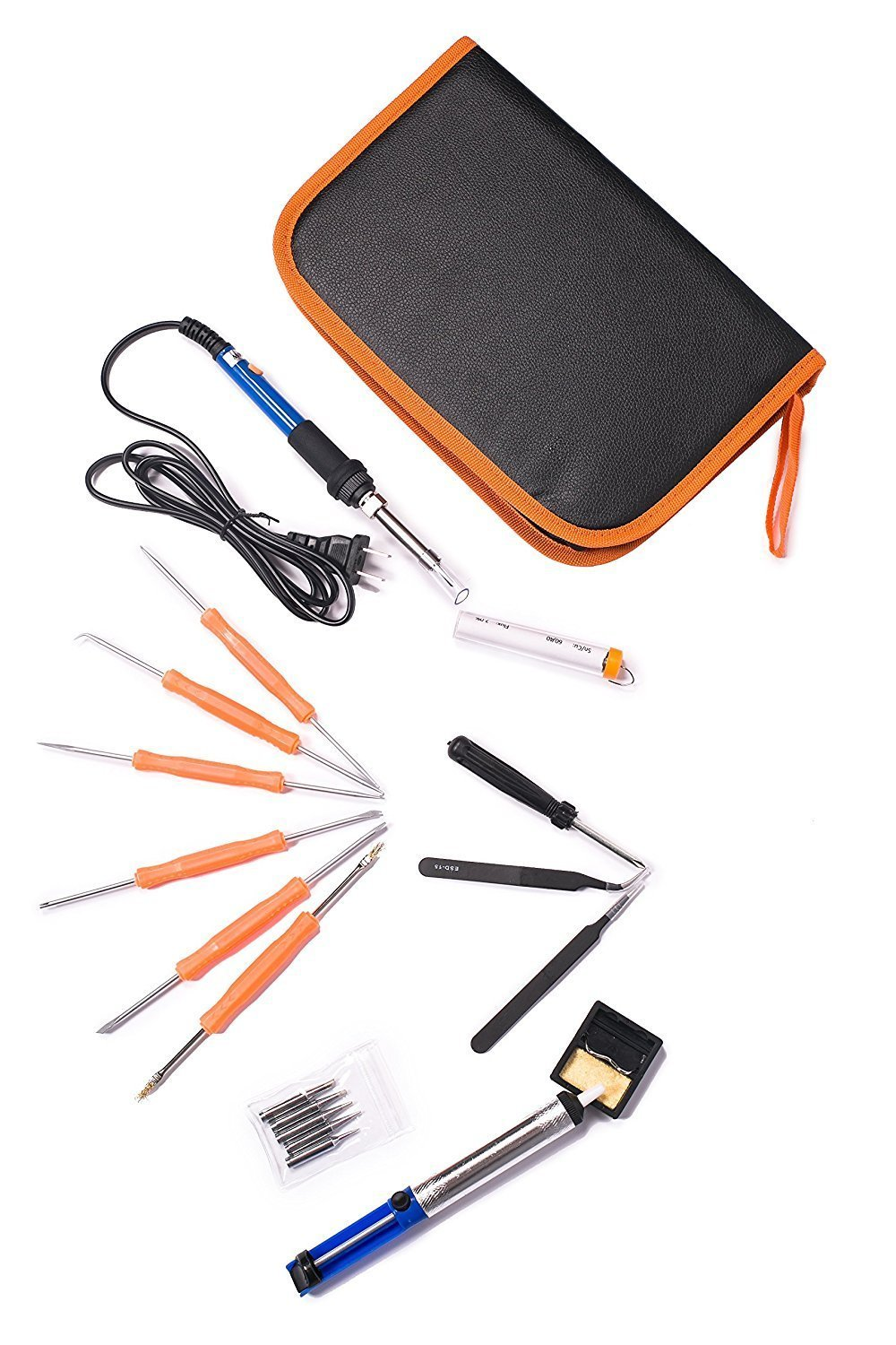 Electric Soldering Iron Kit ,Full Set 60W 110V with Adjustable Temperature Welding Iron, 5pcs Tips, Desoldering Pump, 2pcs Tweezers, Tin Wire Tube, Stand and 6pcs Aid Tools in PU Carry Bag by Thee-home (Image #6)