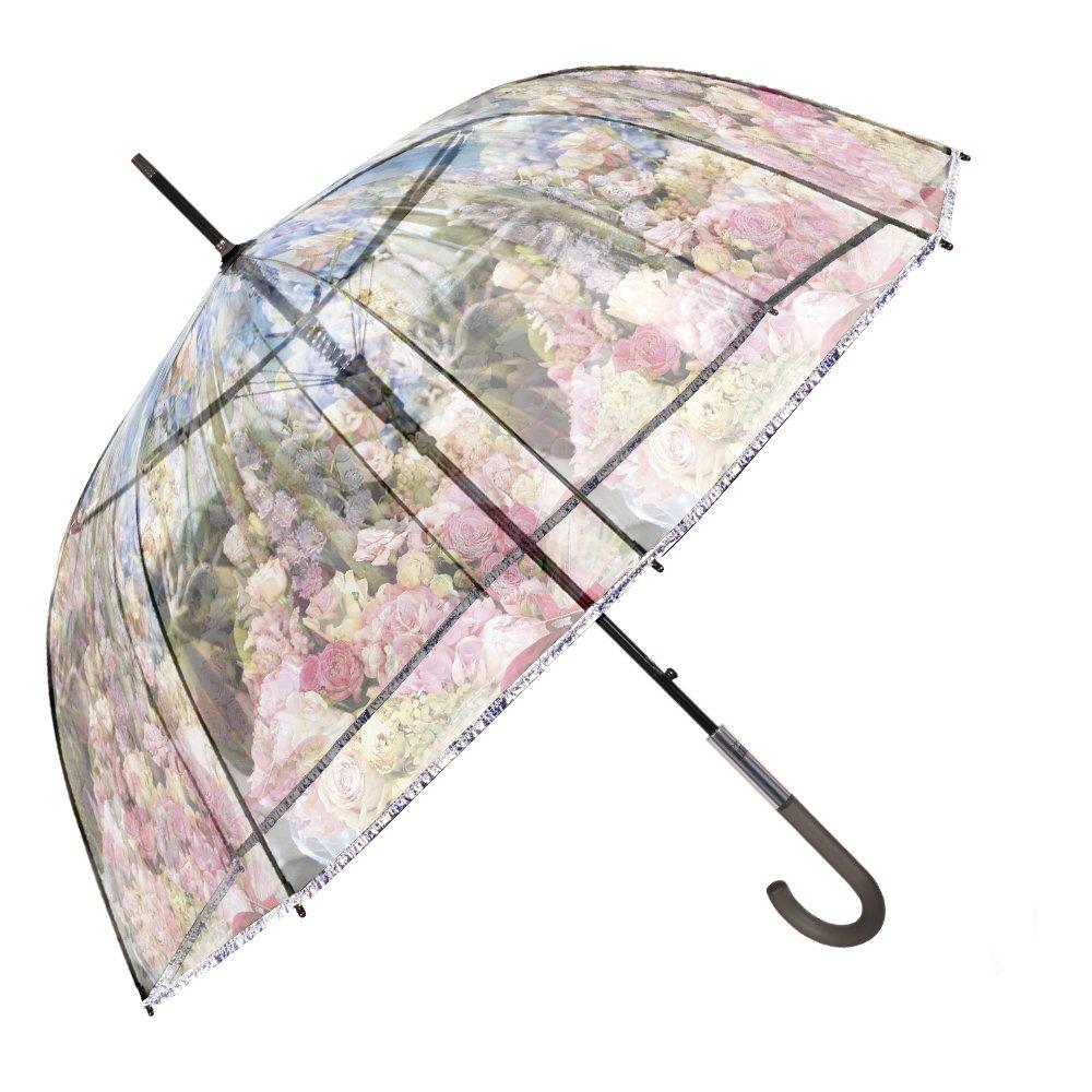 Parapluie Femme Transparent - Parapluie Cloche Automatique - Parapluie Canne Anti Vent - Fantaisie à la mode avec Fleurs - 96 cm Diamètre - Perletti Chic - Rose