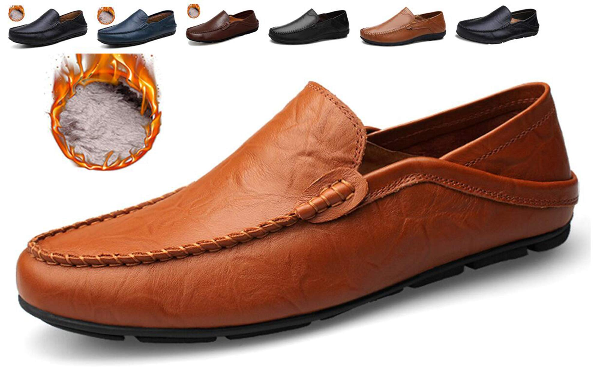 Go Tour Men's Premium Genuine Leather Casual Slip On Loafers Breathable Driving Shoes Fashion Slipper Brown Fur 45