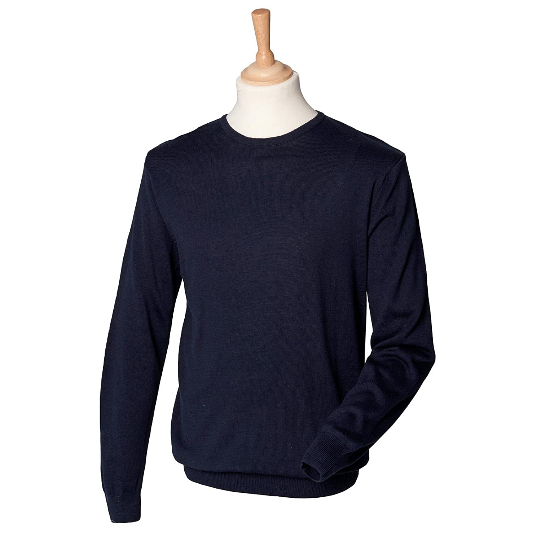 New Mens Henbury Comfortable Fine Knit Long Sleeved Crew Neck Jumper Sweatshirt