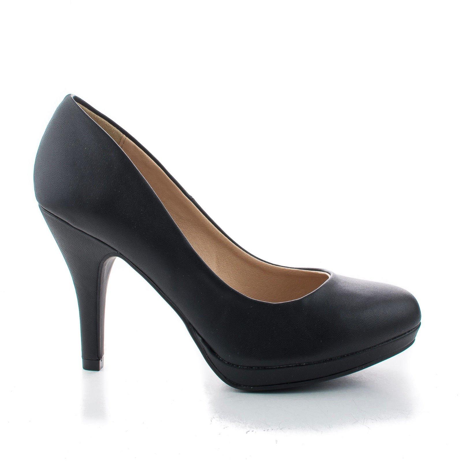 Round Toe Extra Cushioned Comfort Classic Dress Work Pumps (7 M US, Black Pu)
