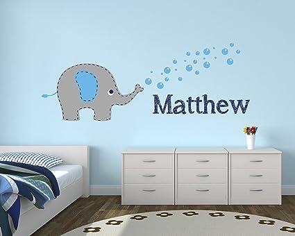 Amazon Com Personalized Elephant Boy Name Wall Decal Elephant