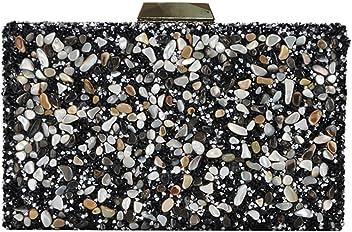 Madison West Kenna Clutch Bag: Black - Gold CLW-0788