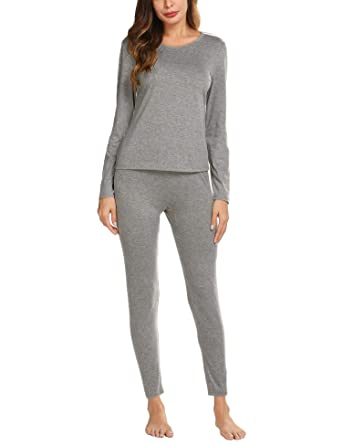 f1dc2b7e161ee6 Ekouaer Thermal Underwear for Women,Long Johns Thermals Winter Base Layer  Set,Grey,