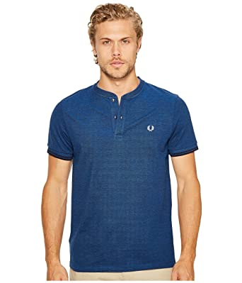Fred Perry Men's Pique Henley T-Shirt Medieval Blue/Black Oxford T-Shirt
