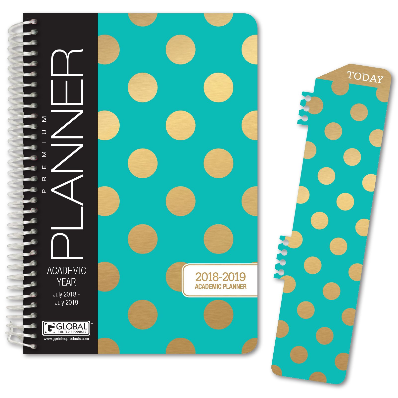 HARDCOVER Academic Year Planner 2018-2019 - 5.5''x8'' Daily Planner/Weekly Planner/Monthly Planner/Yearly Agenda. Bonus Bookmark (Gold Dots Turquoise)