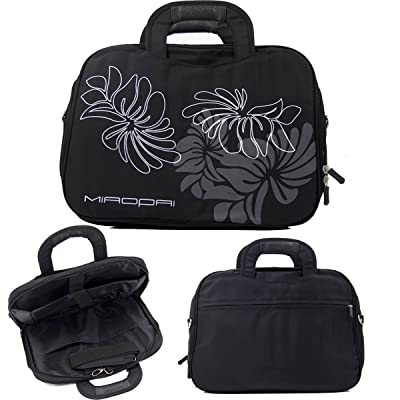 Black::14in Nylon Floral Print Laptop Case with Shoulder strap fits HP Stream 11.6 Inch Laptop|NuVur on sale
