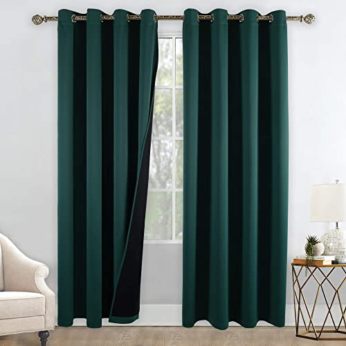 YGO Heat Blocking 100 Percent Blackout Curtains Durable Black Lined Blackout Curtain