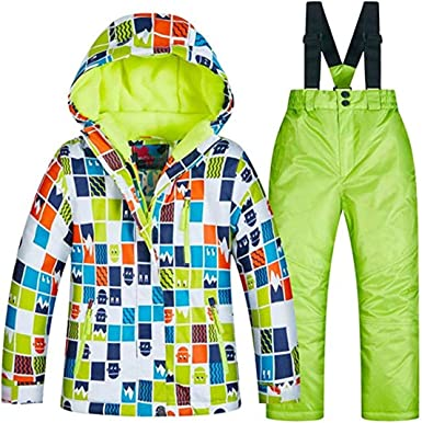 Little Girls Boyss Outdoor Mountain Waterproof Windproof Snowboarding Jackets and Pants Set Insulated Snowboard Snowsuit