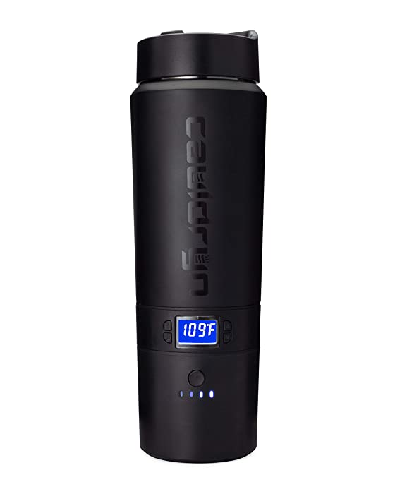 Cauldryn Coffee Travel Mug - Heated Mug, Vacuum Bottle, Temperature Controlled Mug, Battery Vacuum Bottle that Brews Coffee or Tea as well as Boils Water and Maintains Your Selected Temp All Day