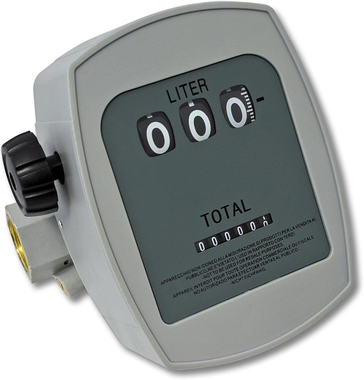 WilTec Medidor de gasoil 3 Bar 10-60l/min Conexiones 1