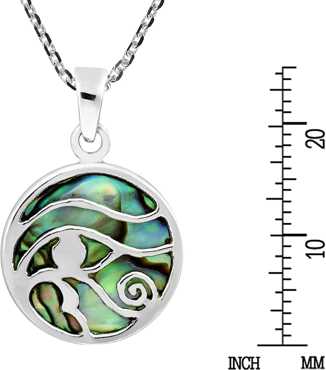 AeraVida Ancient Symbol Eye of Horus Abalone Shell Inlay .925 Sterling Silver Pendant Necklace