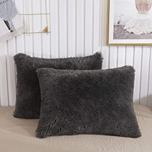 XeGe Faux Fur Throw Pillow Cases Plush Shaggy Ultra Soft Pillow Cover Fluffy Crystal Velvet Decorative Pillowcases Zipper Closure,Set of 2(Standard, Dark Gray)