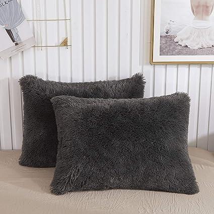 Faux Fur Decorative Pillow.Chenfeng Faux Fur Throw Pillow Cases Plush Shaggy Ultra Soft Pillow Cover Fluffy Crystal Velvet Decorative Pillowcases Zipper Closure Set Of 2