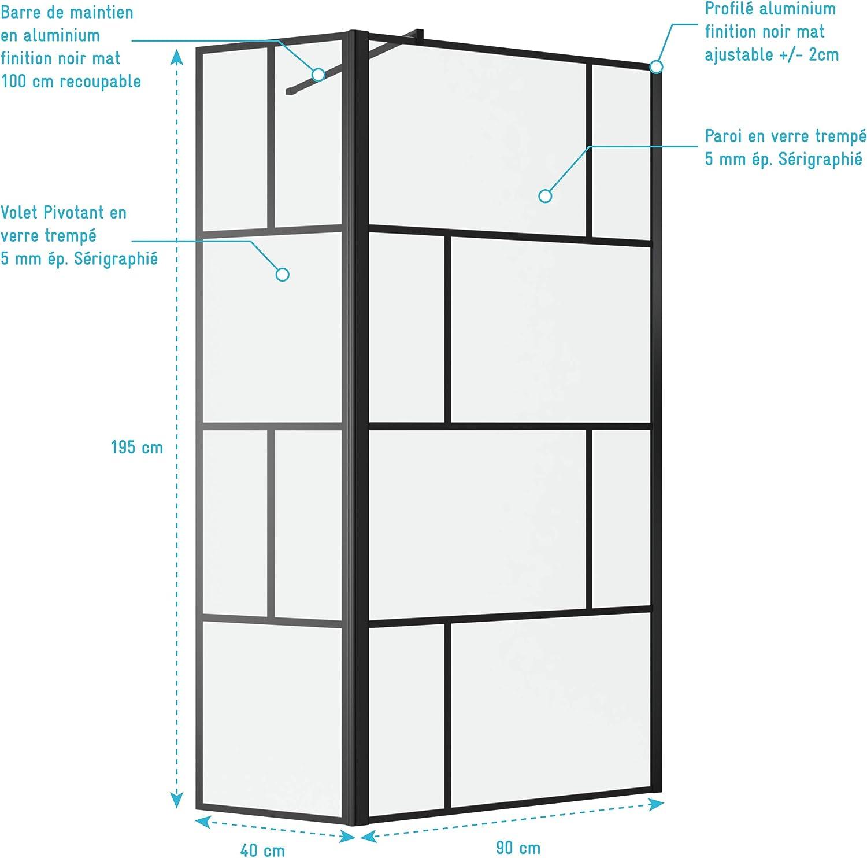 Verre Transparent 5mm dim Blocks 90R Profil/é Noir Mat 40x195cm Aurlane Paroi de Douche /à litalienne avec Retour 90x195cm s/érigraphie Type Brique