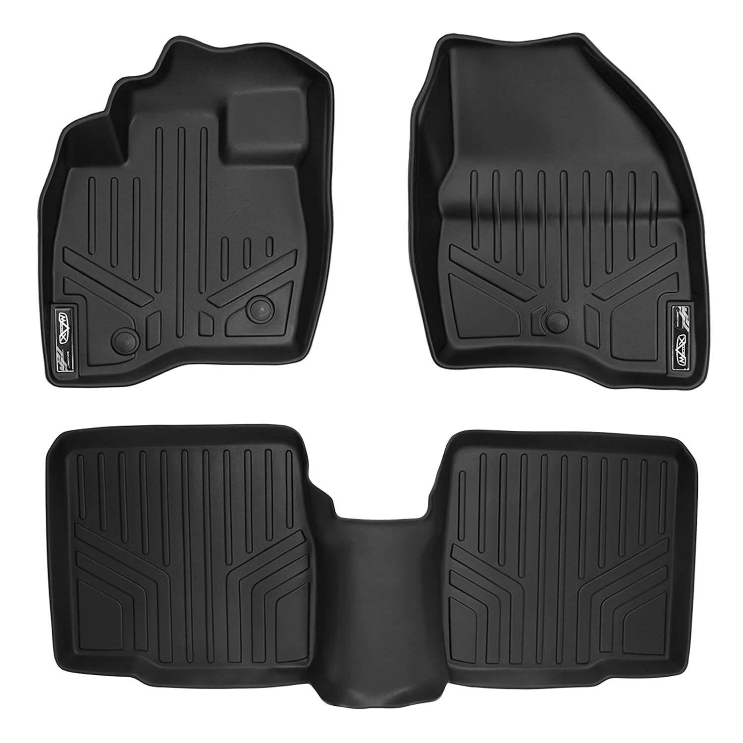 SMARTLINER Floor Mats 2 Row Liner Set Black for 2017-2018 Ford Explorer Without 2nd Row Center Console MAXLINER A0245/B0082