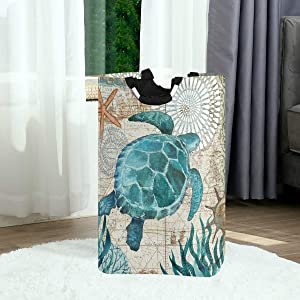 Sea Turtle Starfish Retro Map Large Laundry Basket Nautical Ocean Collapsible Laundry Hamper with Handles Waterproof Durable Clothes Washing Bin Dirty Baskets Storage for Home College Dorm Bathroom