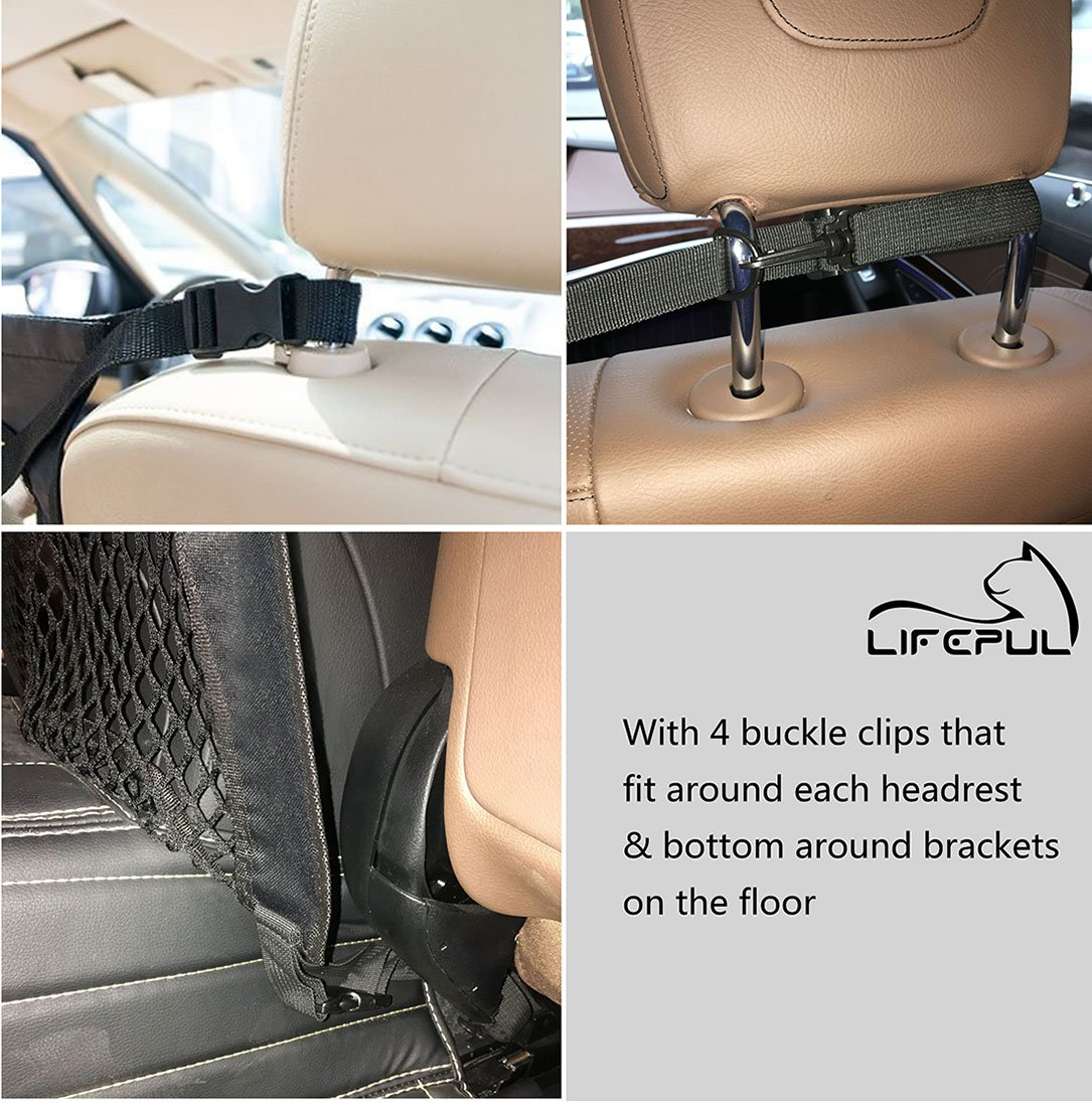 Lifepul Pet Net Barrier (TM) Dogs Backseat Barrier Mesh Obstacle Dog Car Fence Mesh, to Keep Your Pets and Drivers Safety inTravel, One Size Fit Most & Easy to Install for Car,SUV,Truck, by Lifepul (Image #4)